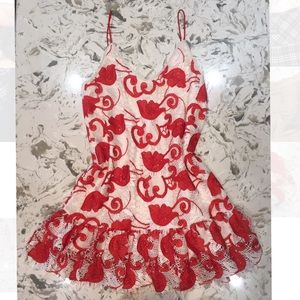 ALEXIS XS coral and white summer dress